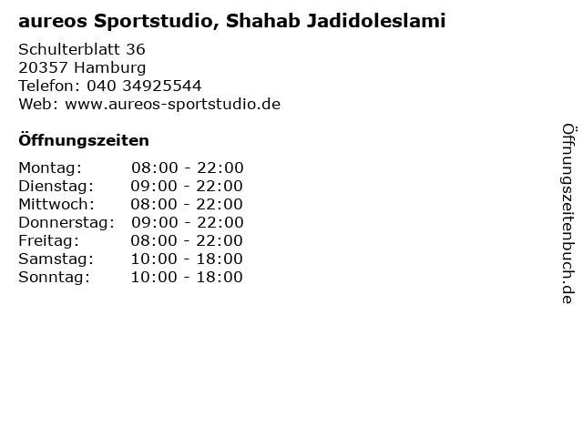 aureos Sportstudio, Shahab Jadidoleslami in Hamburg: Adresse und Öffnungszeiten