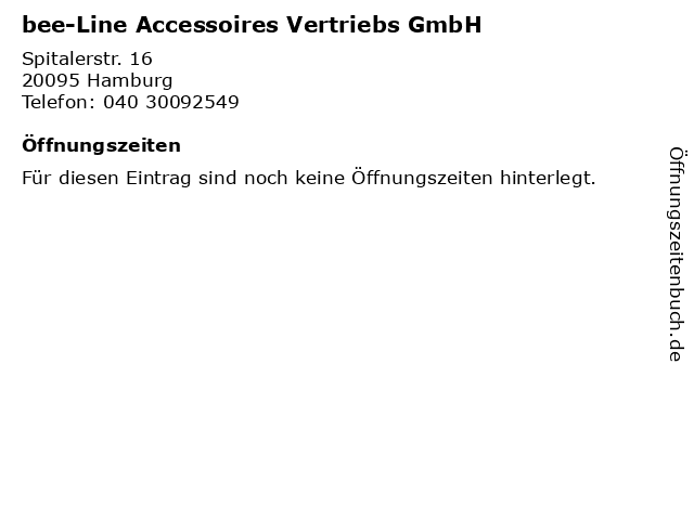 bee-Line Accessoires Vertriebs GmbH in Hamburg: Adresse und Öffnungszeiten