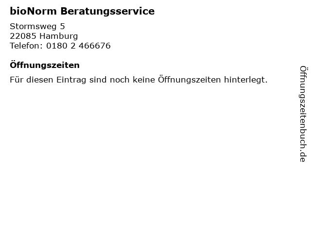 bioNorm Beratungsservice in Hamburg: Adresse und Öffnungszeiten