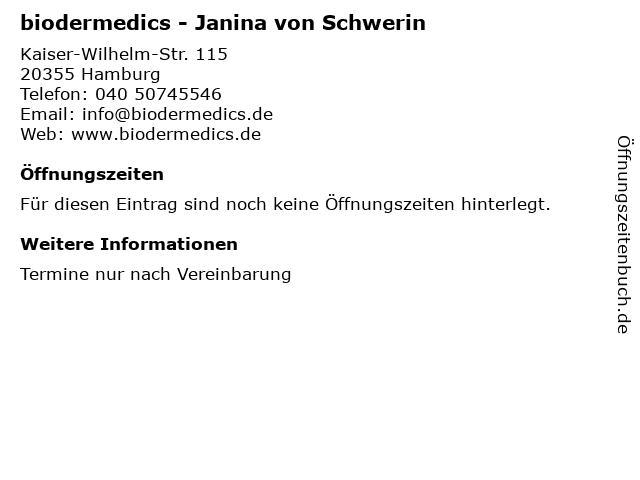 biodermedics - Janina von Schwerin in Hamburg: Adresse und Öffnungszeiten