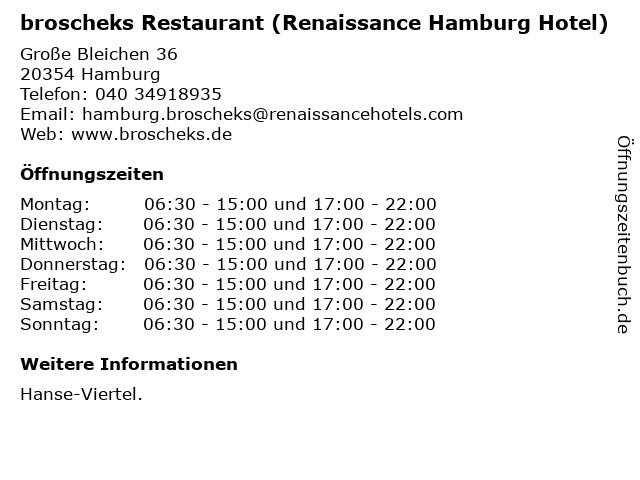broscheks Restaurant (Renaissance Hamburg Hotel) in Hamburg: Adresse und Öffnungszeiten