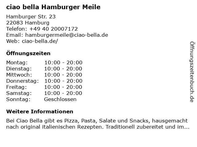 ciao bella Hamburger Meile in Hamburg: Adresse und Öffnungszeiten