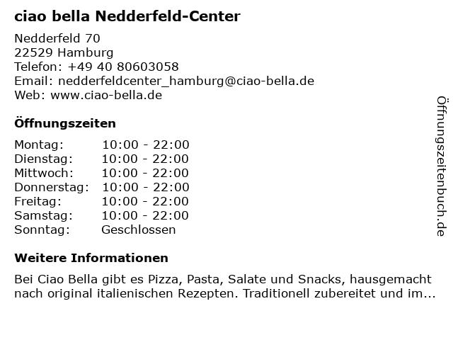 ciao bella Nedderfeld-Center in Hamburg: Adresse und Öffnungszeiten
