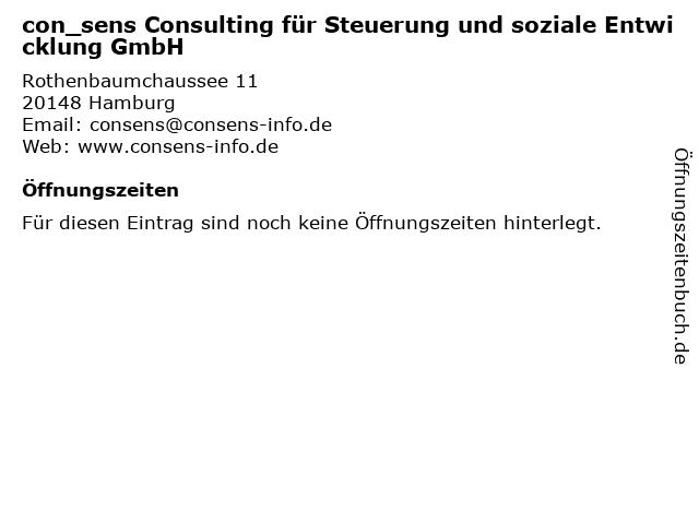 con_sens Consulting für Steuerung und soziale Entwicklung GmbH in Hamburg: Adresse und Öffnungszeiten
