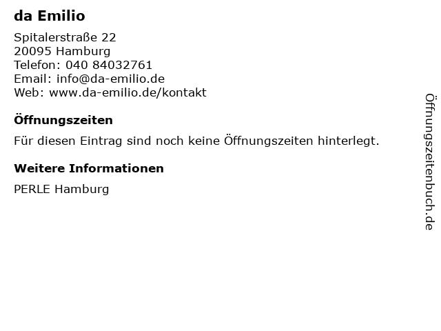 da Emilio in Hamburg: Adresse und Öffnungszeiten