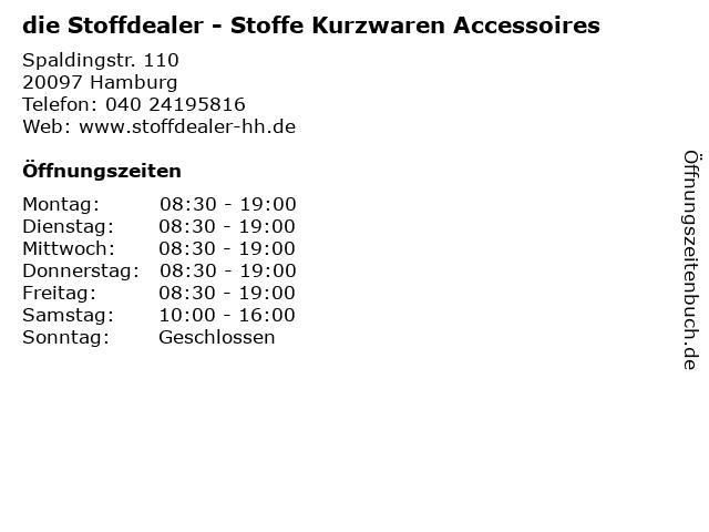 die Stoffdealer - Stoffe Kurzwaren Accessoires in Hamburg: Adresse und Öffnungszeiten