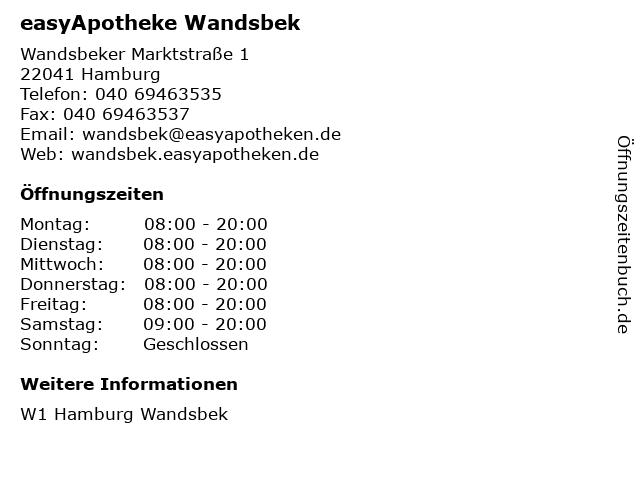 easyApotheke Wandsbek in Hamburg: Adresse und Öffnungszeiten