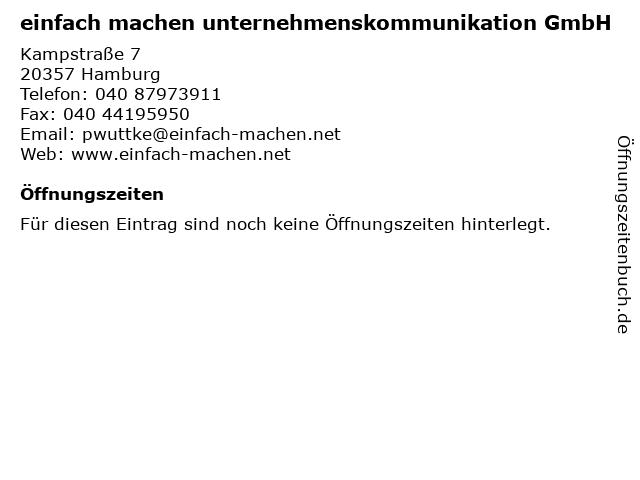 einfach machen unternehmenskommunikation GmbH in Hamburg: Adresse und Öffnungszeiten