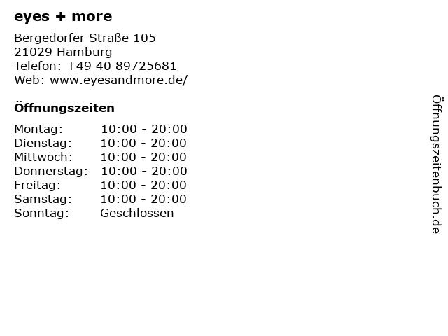 eyes + more GmbH, Store Hamburg - City-Center Bergedorf in Hamburg: Adresse und Öffnungszeiten