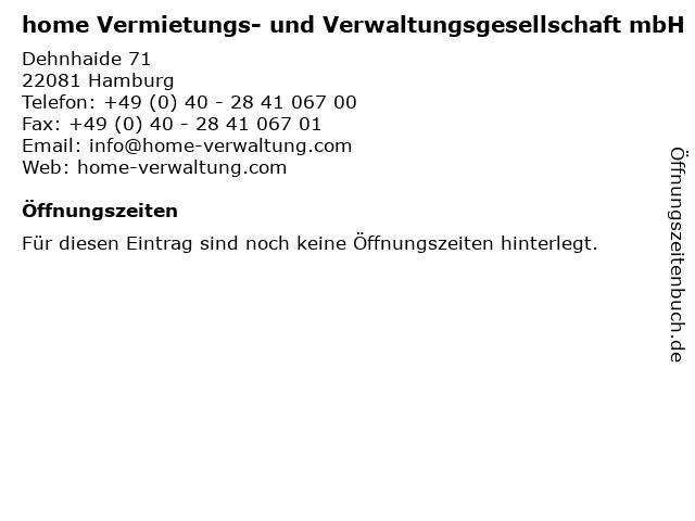 home Vermietungs- und Verwaltungsgesellschaft mbH in Hamburg: Adresse und Öffnungszeiten