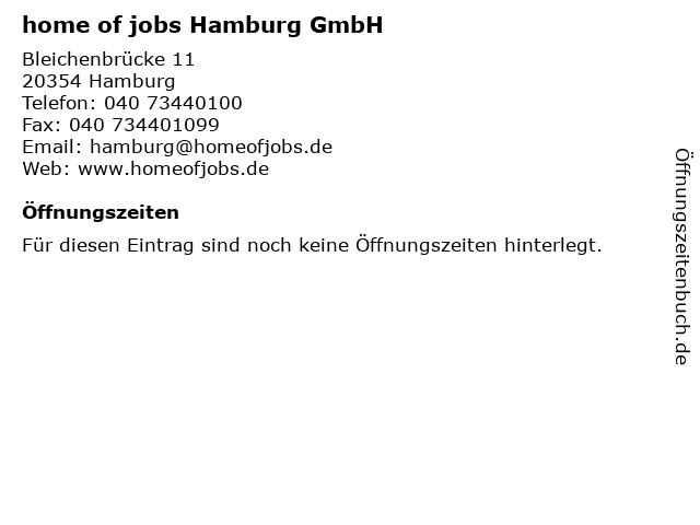 home of jobs Hamburg GmbH in Hamburg: Adresse und Öffnungszeiten