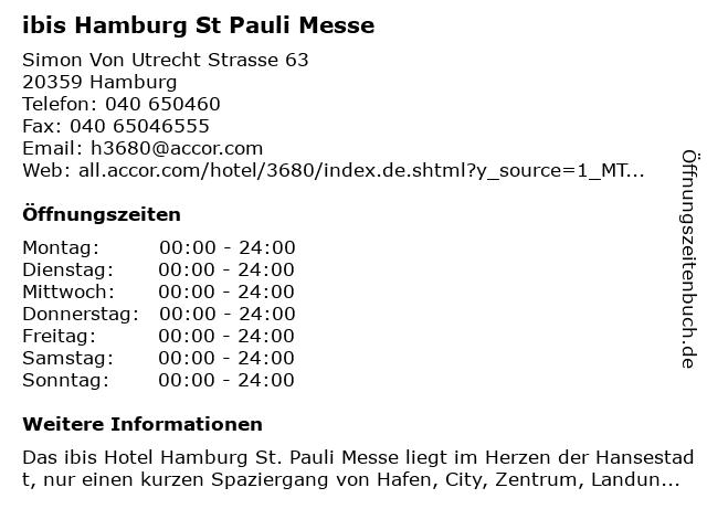 ibis Hamburg St Pauli Messe in Hamburg: Adresse und Öffnungszeiten