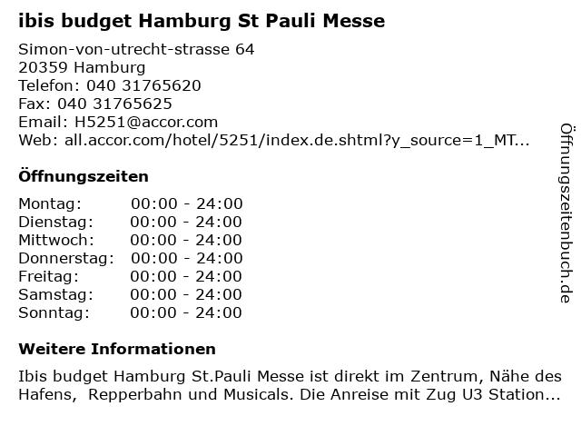 ibis budget Hamburg St Pauli Messe in Hamburg: Adresse und Öffnungszeiten