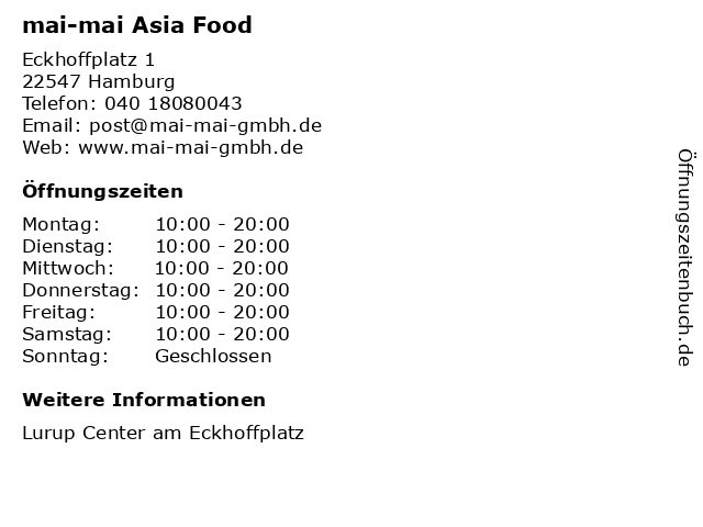 mai-mai Asia Food in Hamburg: Adresse und Öffnungszeiten