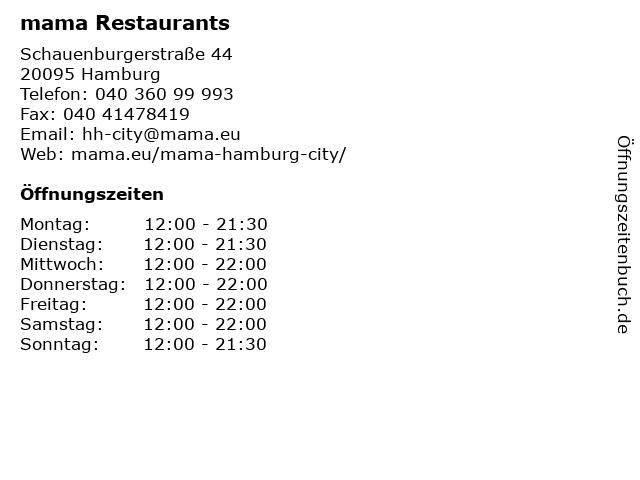 mama Restaurants in Hamburg: Adresse und Öffnungszeiten