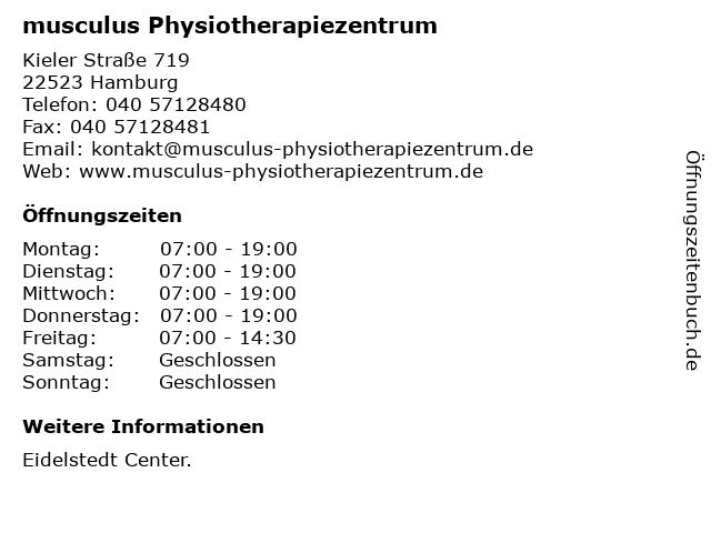musculus Physiotherapiezentrum in Hamburg: Adresse und Öffnungszeiten