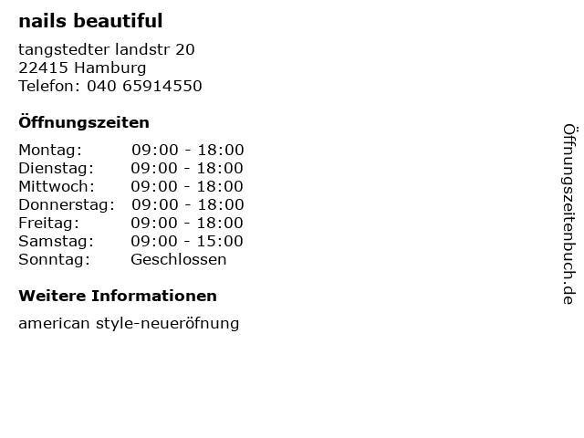 nails beautiful in Hamburg: Adresse und Öffnungszeiten