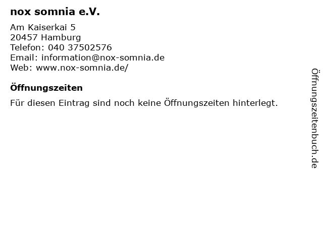nox somnia e.V. in Hamburg: Adresse und Öffnungszeiten