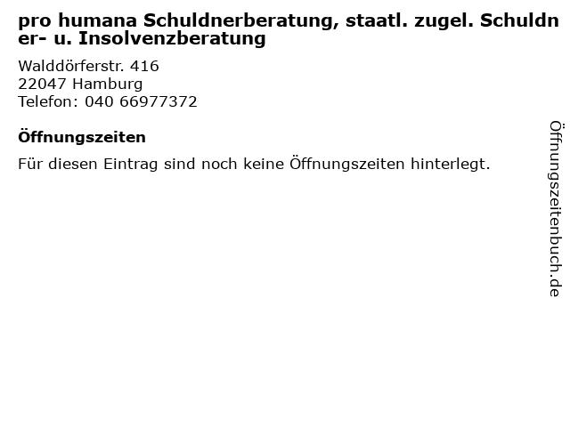 pro humana Schuldnerberatung, staatl. zugel. Schuldner- u. Insolvenzberatung in Hamburg: Adresse und Öffnungszeiten