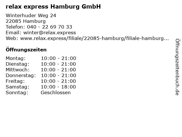 relax express Hamburg GmbH in Hamburg: Adresse und Öffnungszeiten