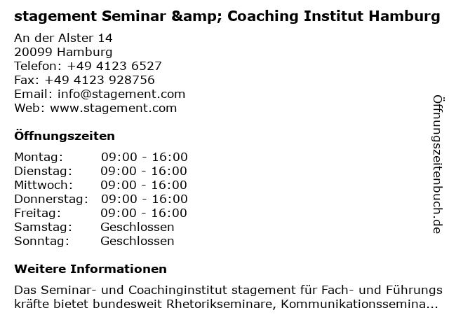 stagement Seminar & Coaching Institut Hamburg in Hamburg: Adresse und Öffnungszeiten