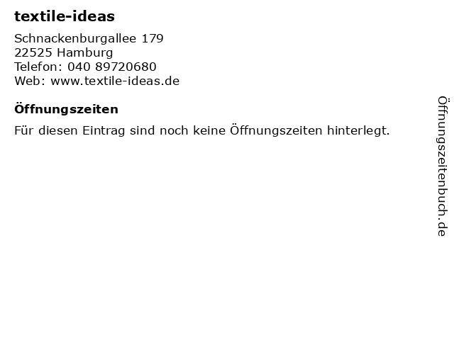 textile-ideas in Hamburg: Adresse und Öffnungszeiten
