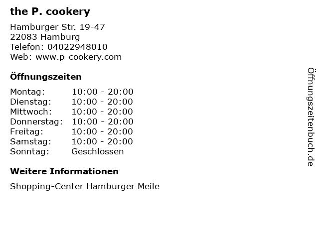 the P. cookery in Hamburg: Adresse und Öffnungszeiten
