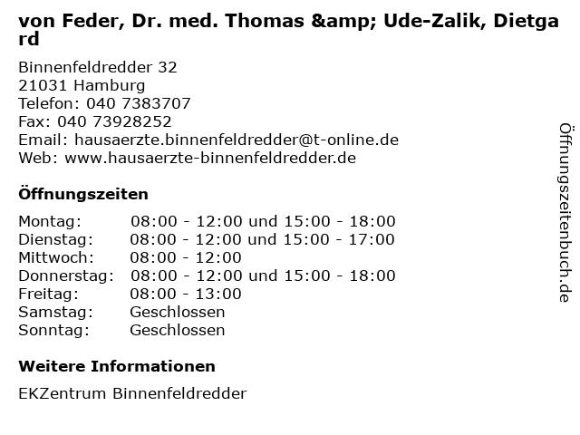 von Feder, Dr. med. Thomas & Ude-Zalik, Dietgard in Hamburg: Adresse und Öffnungszeiten
