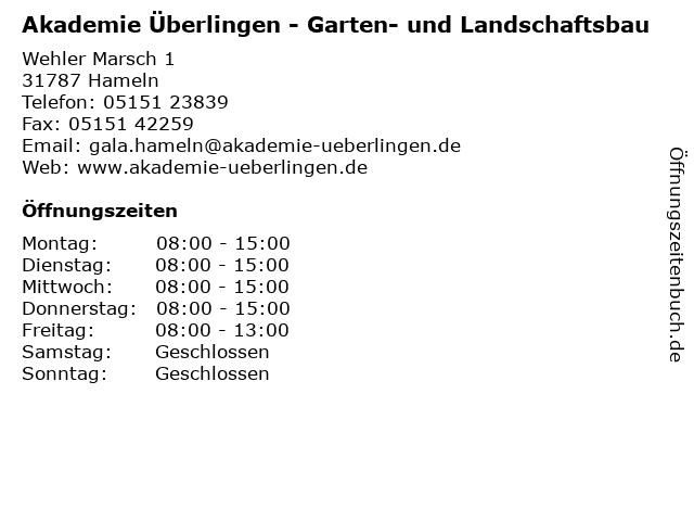 Akademie Überlingen - Garten- und Landschaftsbau in Hameln: Adresse und Öffnungszeiten