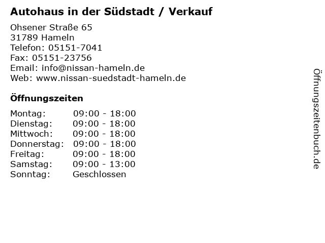 Autohaus in der Südstadt / Verkauf in Hameln: Adresse und Öffnungszeiten