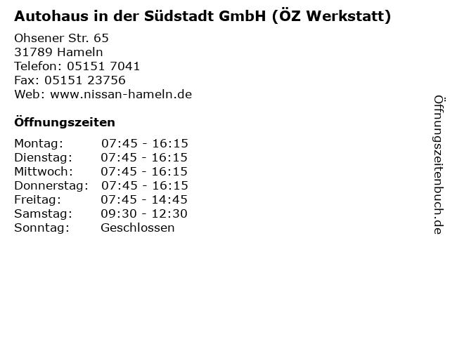Autohaus in der Südstadt GmbH (ÖZ Werkstatt) in Hameln: Adresse und Öffnungszeiten