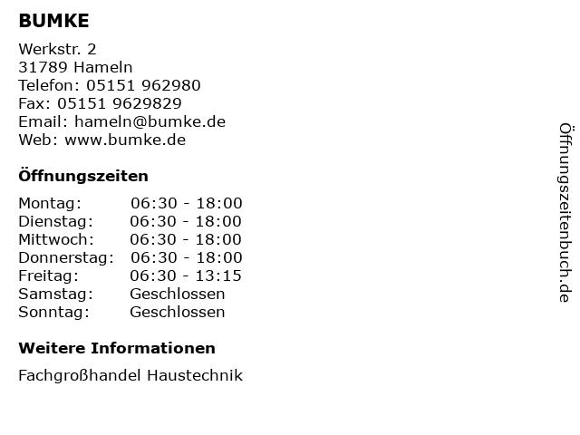 BUMKE in Hameln: Adresse und Öffnungszeiten