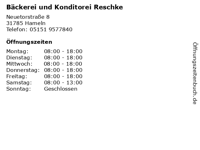 Bäckerei und Konditorei Reschke in Hameln: Adresse und Öffnungszeiten