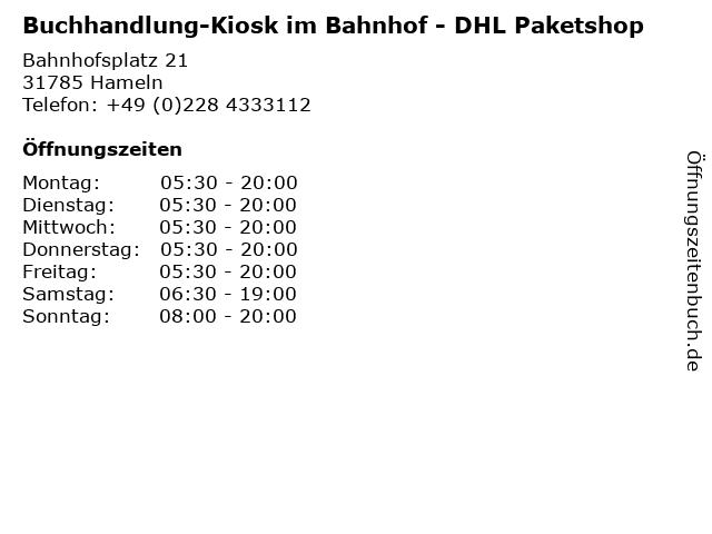 Buchhandlung-Kiosk im Bahnhof - DHL Paketshop in Hameln: Adresse und Öffnungszeiten