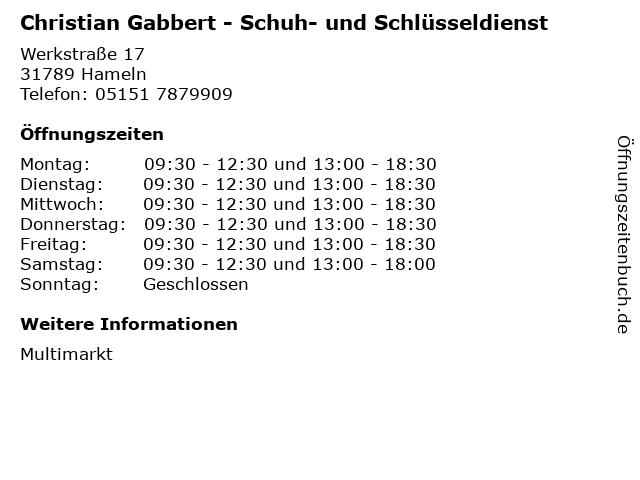 Christian Gabbert - Schuh- und Schlüsseldienst in Hameln: Adresse und Öffnungszeiten