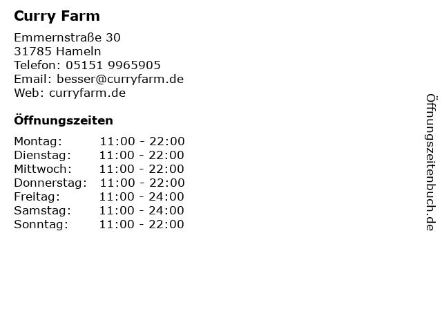 Curry Farm in Hameln: Adresse und Öffnungszeiten