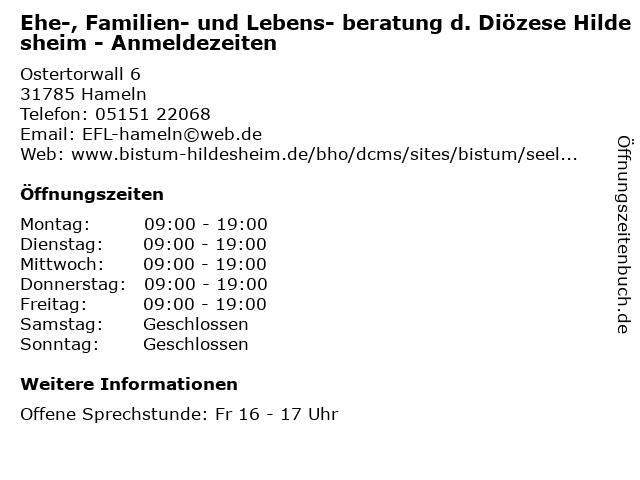 Ehe-, Familien- und Lebens- beratung d. Diözese Hildesheim - Anmeldezeiten in Hameln: Adresse und Öffnungszeiten