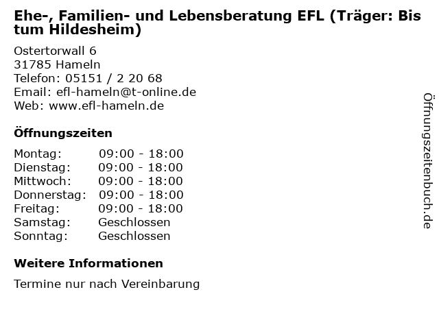 Ehe-, Familien- und Lebensberatung EFL (Träger: Bistum Hildesheim) in Hameln: Adresse und Öffnungszeiten