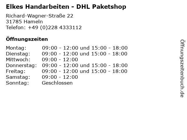 Elkes Handarbeiten - DHL Paketshop in Hameln: Adresse und Öffnungszeiten