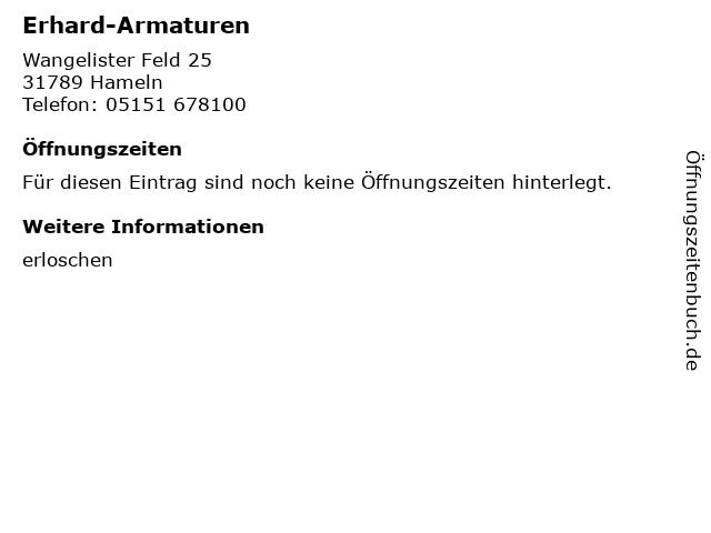 Erhard-Armaturen in Hameln: Adresse und Öffnungszeiten