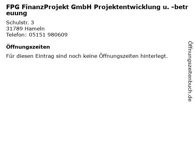 FPG FinanzProjekt GmbH Projektentwicklung u. -betreuung in Hameln: Adresse und Öffnungszeiten