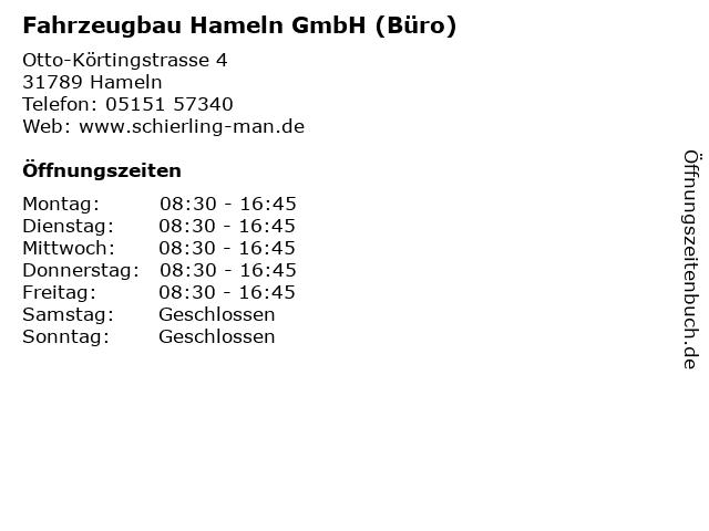 Fahrzeugbau Hameln GmbH (Büro) in Hameln: Adresse und Öffnungszeiten