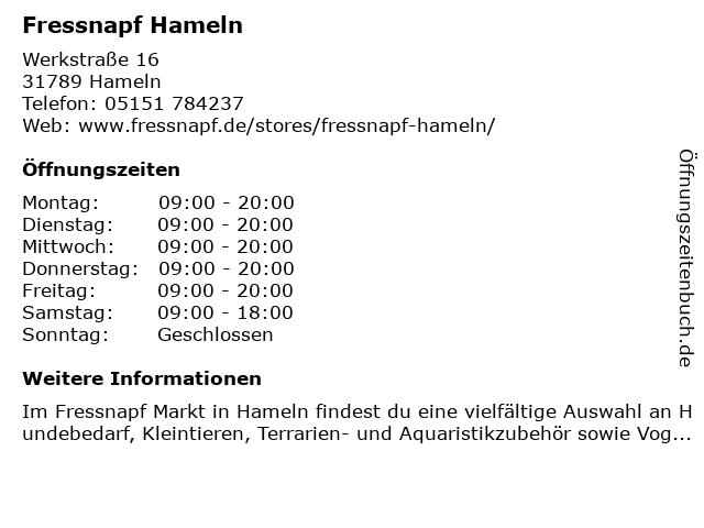 Fressnapf Hameln in Hameln: Adresse und Öffnungszeiten