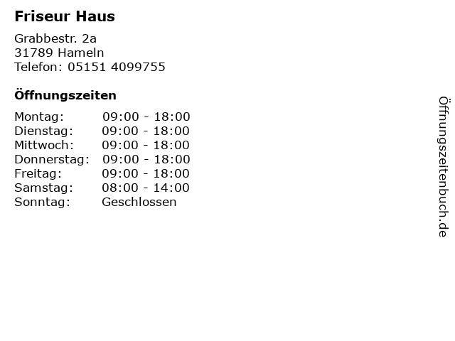 Friseur Haus in Hameln: Adresse und Öffnungszeiten