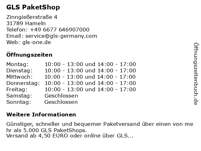 GLS PaketShop in Hameln: Adresse und Öffnungszeiten