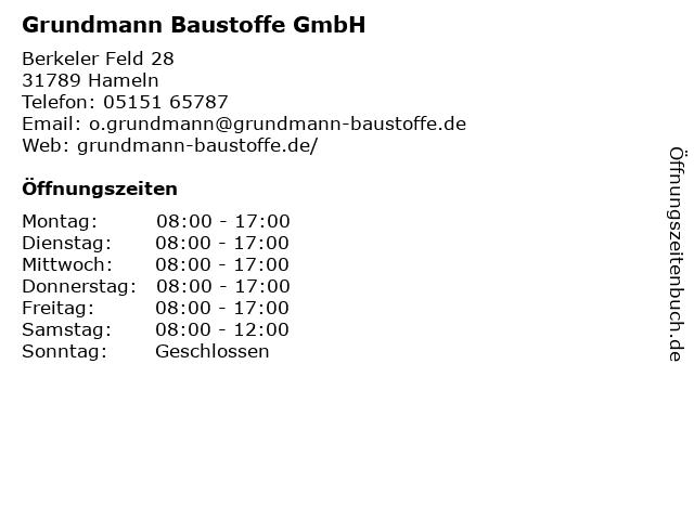 Grundmann Baustoffe GmbH in Hameln: Adresse und Öffnungszeiten