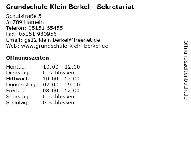 Grundschule Klein Berkel - Sekretariat in Hameln: Adresse und Öffnungszeiten