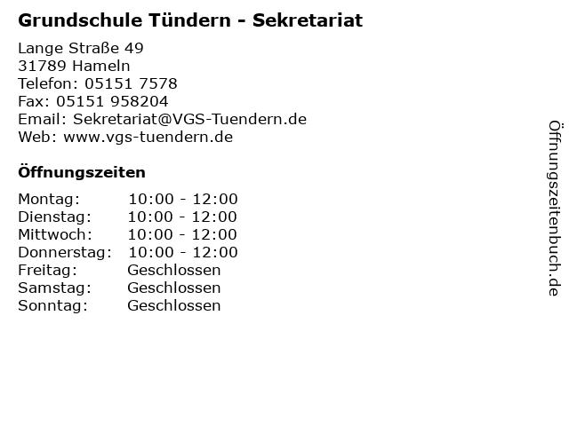 Grundschule Tündern - Sekretariat in Hameln: Adresse und Öffnungszeiten