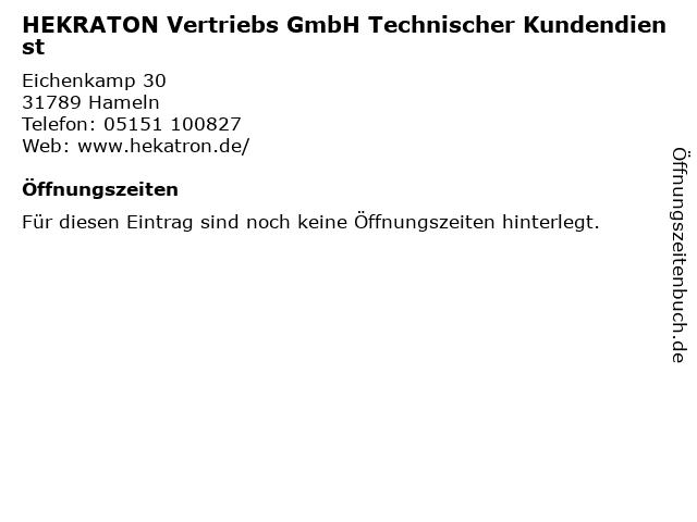 HEKRATON Vertriebs GmbH Technischer Kundendienst in Hameln: Adresse und Öffnungszeiten