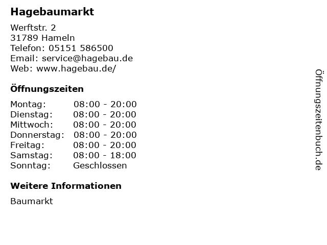 Hagebaumarkt in Hameln: Adresse und Öffnungszeiten